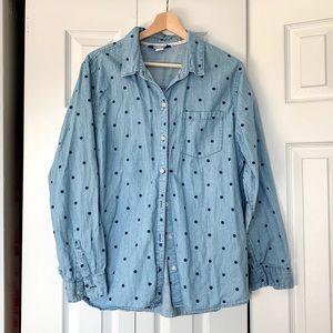 Old Navy polka dot denim shirt